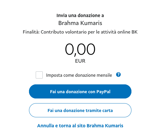 Dona Ora Paypal Brahma Kumaris